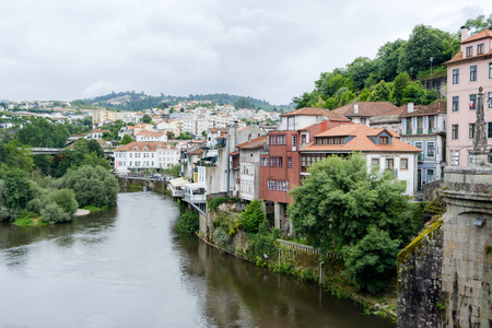 Amarante, Portugal - June 10, 2018 : View of the city from above the bridge of S. Goncalo, Porto district, Portugal