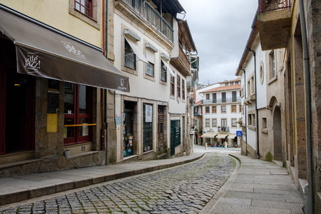 Amarante, Portugal - June 10, 2018 : Old streets that circulate the church of S. Goncalo, Porto district, Portugal