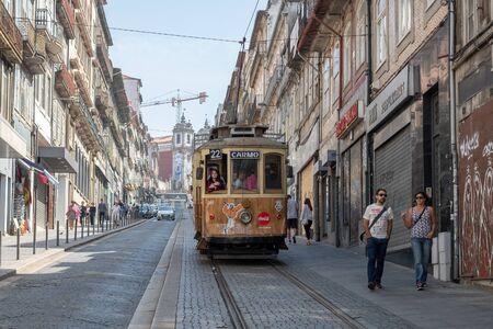 Porto, Portugal - September 16, 2018 : Electric rising street January 31 in the city of Porto. The tramway network of the city of Porto, existing since 1895, Porto, Portugal Sajtókép