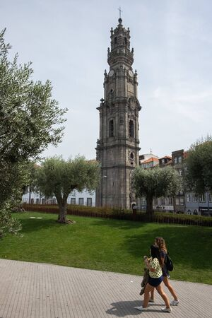 Porto, Portugal - September 16, 2018: The church and tower of the Cl?rigos is a remarkable architectural complex located in the city of Porto, being considered the ex-libris of that city, Portugal Sajtókép