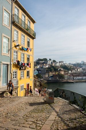 Porto, Portugal - September 16, 2018 : On the banks of the river Douro the beautiful city of Porto and on the other bank the magnificent city Vila Nova de Gaia. Porto, Portugal