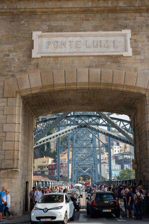 Porto, Portugal - September 16, 2018 : Busy bridge Luiz I on the River Douro to join the cities of Porto and Vila Nova de Gaia, Portugal Sajtókép