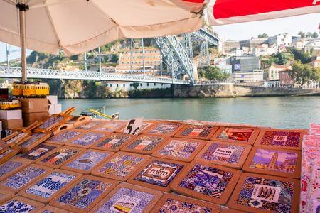 Porto, Portugal - September 16, 2018 : Sale of tiles on the banks of the river douro Porto, Portugal