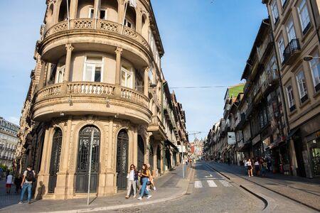 Porto, Portugal - September 16, 2018 : Sunday afternoon in Invicta street Porto, Portugal