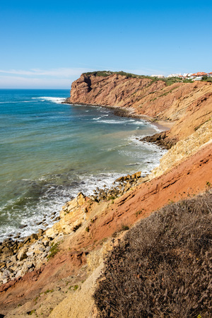 S. Martinho do Porto, Portugal - September 20, 2018 : Cliffs on the Portuguese coast Alcobaca, Portugal