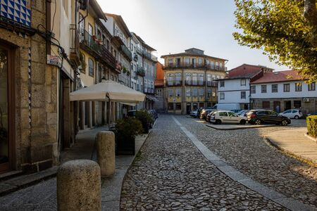 Guimaraes, Portugal - September 26, 2018 : Largo Condessa do Juncal plus one of the beautiful places with the typical architecture of the city Guimaraes,Portugal