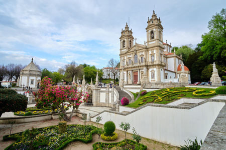 Braga, Portugal - March 31, 2019: The beautiful gardens next to the Sanctuary of Bom Jesus do Monte Braga, Portugal.