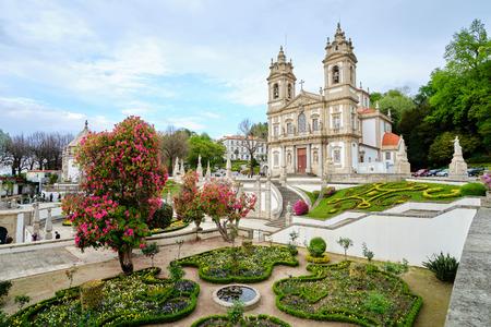 Braga, Portugal - March 31, 2019: The beautiful gardens next to the Sanctuary of Bom Jesus do Monte Braga, Portugal. 免版税图像