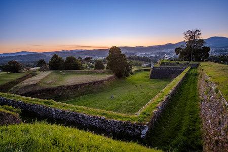 Valenca, Portugal - May 11, 2019: End of afternoon in the fortification of Valen a, Portugal.