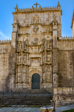 Pontevedra , Spain - May 12, 2019: Details of Basilica of Santa Maria Maior, Pontevedra, Spain.