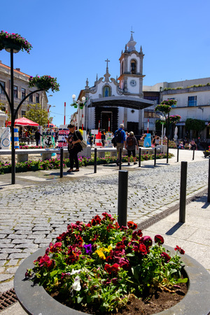 Vila Praia de Ancora, Portugal - May 04, 2019 : Republic square the exhibitions Our Beach is a garden, kindergartens, elementary schools and IPSS's of the Municipality, Caminha,Viana do Castelo district, Portugal
