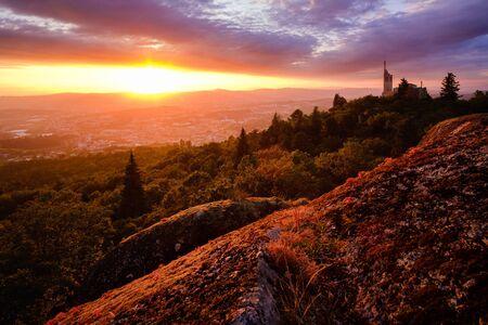 Guimaraes, portugal - July 6, 2019: Sunset top of the hill Penha, Guimaraes Portugal