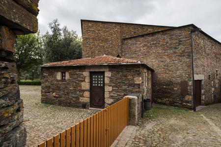 Penafiel, Portugal - September 29, 2019: Quintandona, a Portuguese village of singular architecture and its buildings in slate, granite and slate stone. Penafiel, Portugal. Sajtókép