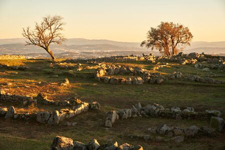 Pa?os de Ferreira, Portugal - January 19, 2020: Cit?nia de Sanfins, is today one of the main testimonies of the castreja culture of the peninsular northwest. Pa?os de Ferreira, Portugal Standard-Bild