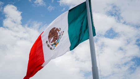 Mexican Flag Waving in the Wind Under a Blue Sky