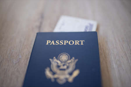 United States of America Passport with a Two Honduran Lempiras Bill Under it Foto de archivo