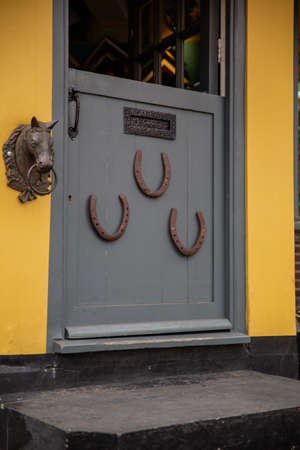 Horseshoe and the small statue of a horse head on a gray door