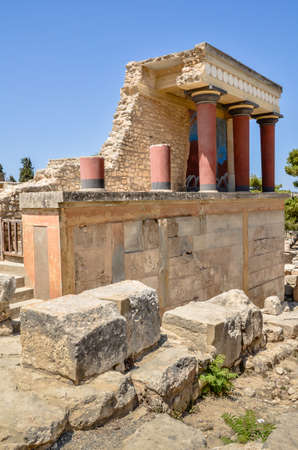 minoan: CRETE, GREECE - August 12, 2013: Knossos Palace the ceremonial and political centre of the Minoan civilization and culture