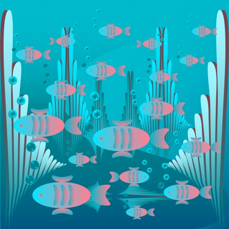 Glowing fish floating in the sea and coral background illustration Vector