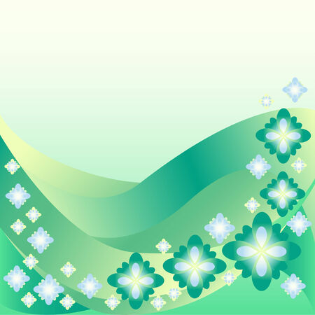 Colored illustration  Abstract background of wave and flowers for design cover or banner Vector