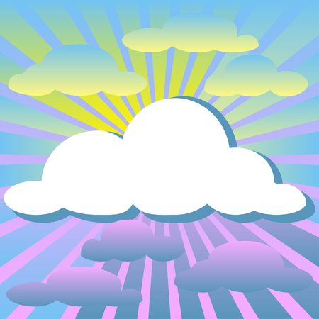 non    urban scene: Colorful illustration background of clouds and rays of the sun