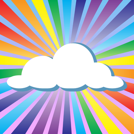 non urban scene: Colorful illustration background of cloud and rainbow