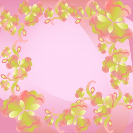 rounding:  Colorful floral ornament abstract background Template frame design for card Illustration