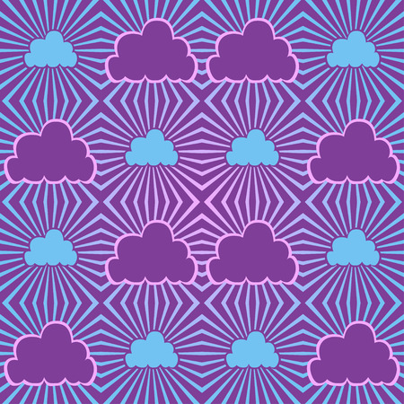 Seamless abstract background sky with clouds and  sunbeam Vector