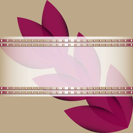 Abstract background with purple flowers diagonally and transparent white ribbon adorned with a metal pattern Vector