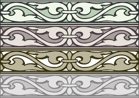 elizabethan: Set of decorative borders vintage style silver Stock Photo