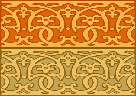 elizabethan: Set of decorative borders vintage style gold Stock Photo