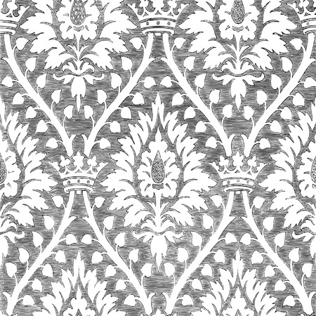 regal: Abstract hand-drawn floral seamless pattern with crown, vintage background. Floral black and white regal pattern can be used for wallpaper, textiles, patterns, web page background, surface textures, packaging, and invitations