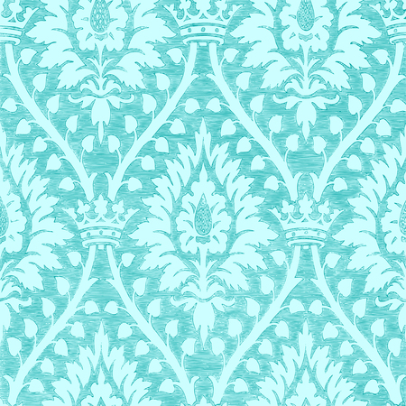 Abstract hand-drawn floral seamless pattern with crown, vintage background. Floral blue light regal pattern can be used for wallpaper, textiles, patterns, web page background, surface textures, packaging, and invitations