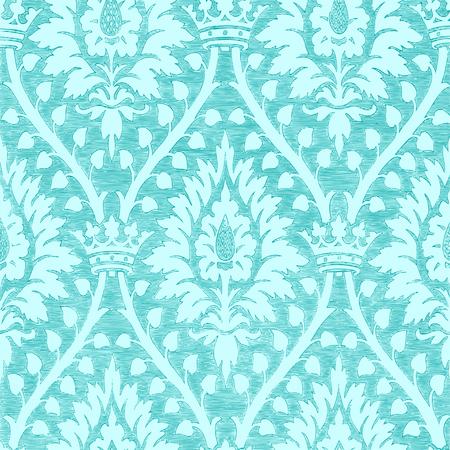 Résumé motif dessiné à la main floral pattern avec la couronne, vintage background. Floral lumière bleue motif royale peut être utilisé pour papiers, de textiles, de motifs, fond de page web, des textures de surface, emballages et des invitations Banque d'images - 42063883