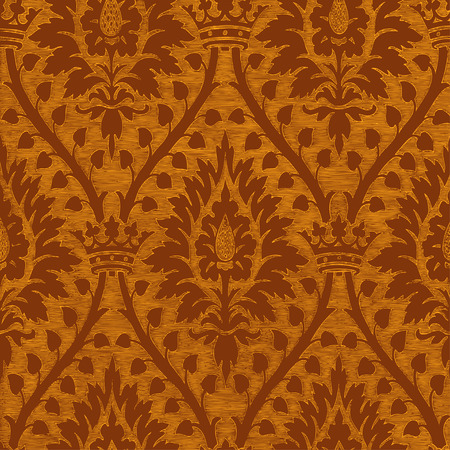 Abstract hand-drawn floral seamless pattern with crown, vintage background. Floral gold regal pattern can be used for wallpaper, textiles, patterns, web page background, surface textures, packaging, and invitations