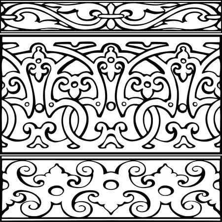 cenefas decorativas: Conjunto de fronteras decorativas estilo vintage