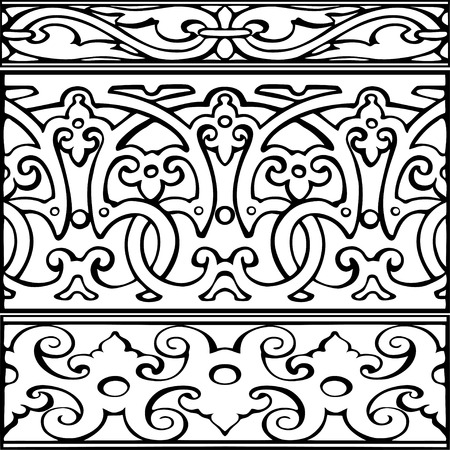 elizabethan: Set of decorative borders vintage style