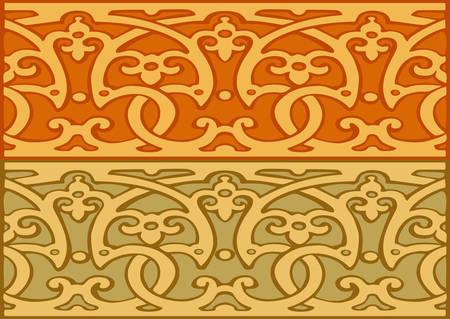 cenefas decorativas: Conjunto de fronteras decorativas de oro de estilo vintage Vectores