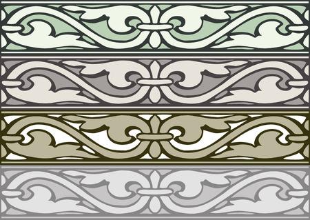 cenefas decorativas: Conjunto de bordes decorativos de plata de estilo vintage