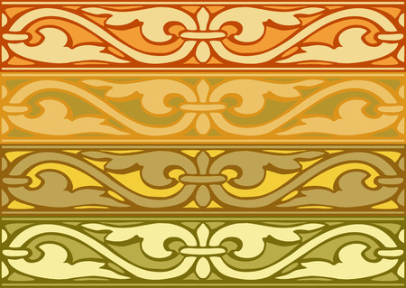 elizabethan: Set of decorative borders vintage style gold Illustration