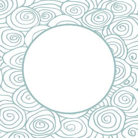 abstract waves: Wave hand-drawn pattern, waves frame circle abstract background curled pattern