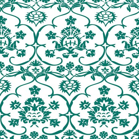 antiquated: Vector seamless floral pattern vintage background blue and white