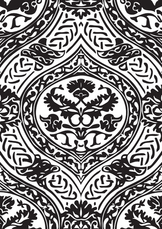 interlacing: Vector seamless floral antique pattern with interlacing ribbons black and white background