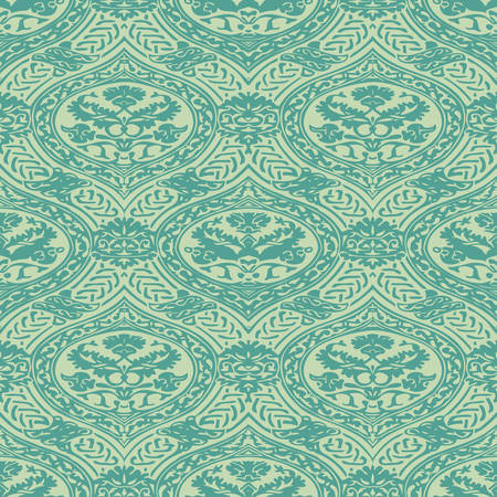 interlacing: Vector seamless floral antique pattern with interlacing ribbons background