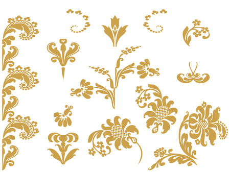 gold floral: Vector set floral design elements with gold flowers and lush bloom, decorated in ethnic ornament. Isolated on white background for invitations, greeting cards, web page, pattern fills, or textile