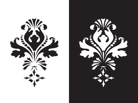 fills: Vector floral design element with black and white flower and lush bloom, decorated in ethnic ornament. Isolated  background for invitations, greeting cards, web page, pattern fills, or textile