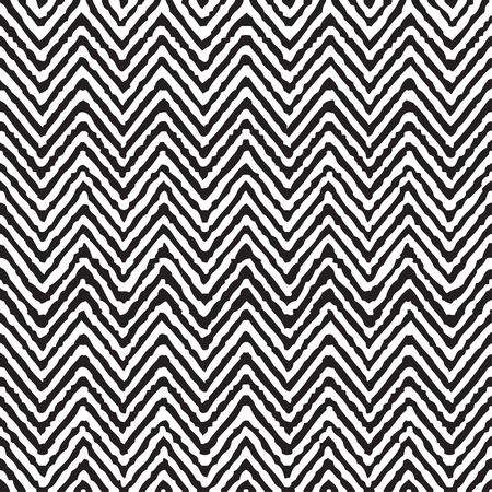 Hand drawing zigzag geometrical ethnic pattern seamless black and white vector Ilustração