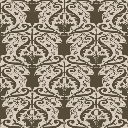 curlicue: Vector seamless floral pattern vintage background beige and gray