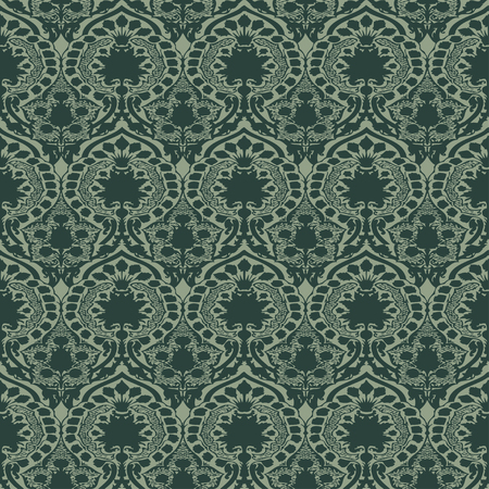 antiquated: Vector seamless floral pattern vintage background green