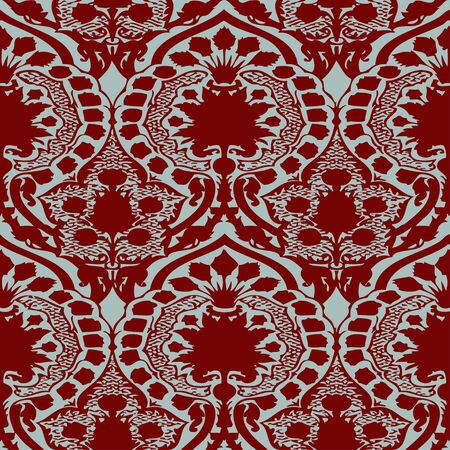 antiquated: Vector seamless floral pattern vintage background red and blue light
